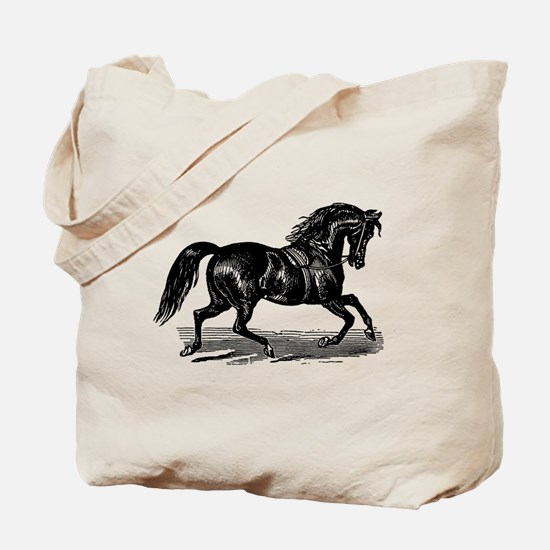 Shiny Black Stallion Horse Tote Bag