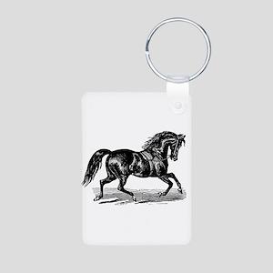 Shiny Black Stallion Horse Aluminum Photo Keychain