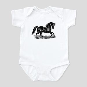 Shiny Black Stallion Horse Infant Bodysuit