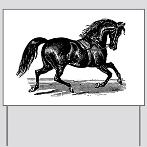 Shiny Black Stallion Horse Yard Sign