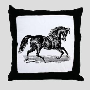 Shiny Black Stallion Horse Throw Pillow
