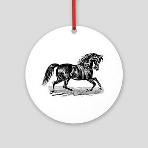 Shiny Black Stallion Horse Ornament (Round)