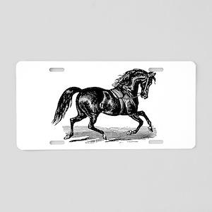 Shiny Black Stallion Horse Aluminum License Plate