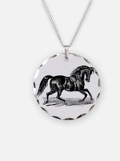 Shiny Black Stallion Horse Necklace Circle Charm