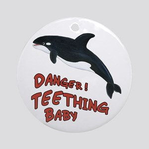 Whale - Teething Danger! Ornament (Round)