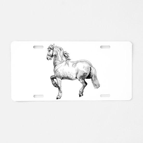 Beautiful White Horse Art Aluminum License Plate
