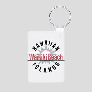 Waikiki Beach Aluminum Photo Keychain