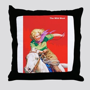 Wild West Cowgirl on White Horse Throw Pillow