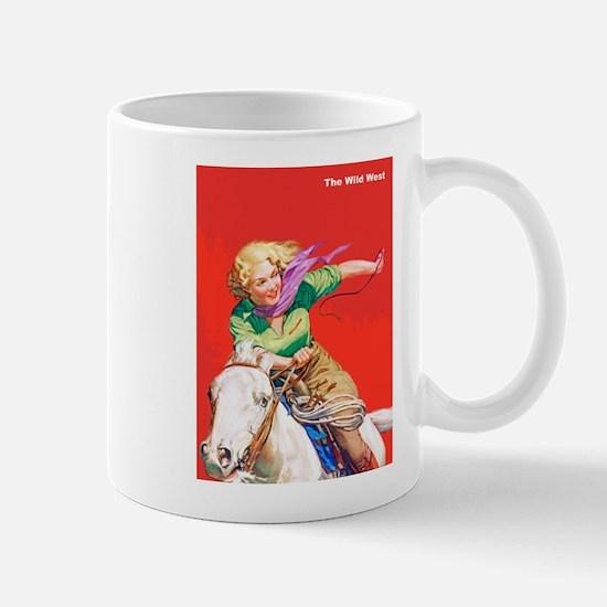 Wild West Cowgirl on White Horse Mug