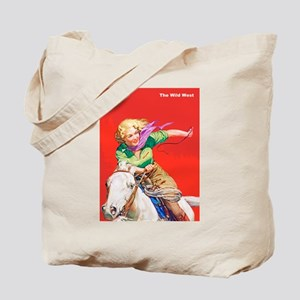 Wild West Cowgirl on White Horse Tote Bag