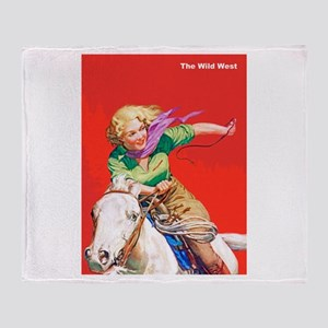 Wild West Cowgirl on White Horse Throw Blanket