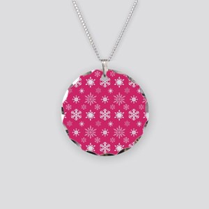 Hot Pink Snowflakes Necklace Circle Charm