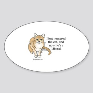 Neutered Liberal Cat - Oval Sticker