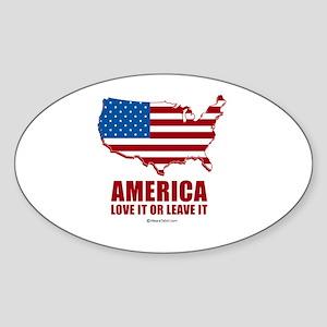 America, Love it or leave it - Oval Sticker