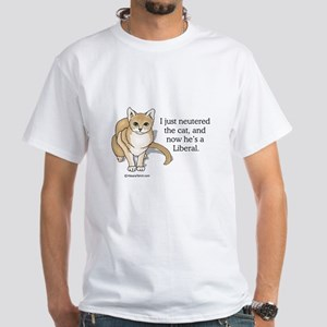 Neutered Liberal Cat - White T-shirt