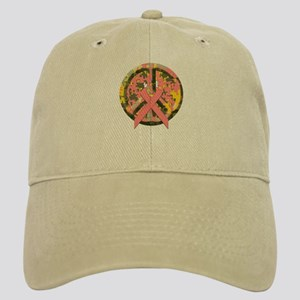 Camo Peace Sign With Pink Cancer Ribbon Cap