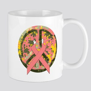 Camo Peace Sign With Pink Cancer Ribbon Mug