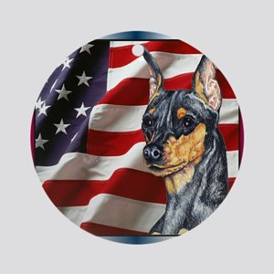 Miniature Pinscher Flag Ornament (Round)