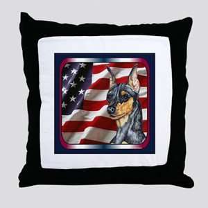 Miniature Pinscher Flag Throw Pillow