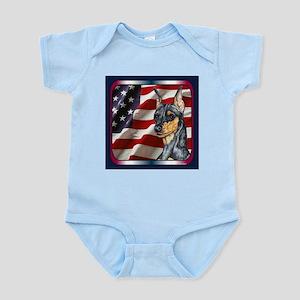 Miniature Pinscher Flag Infant Creeper