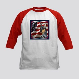 Miniature Pinscher Flag Kids Baseball Jersey