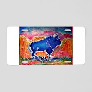 Buffalo, southwest, art, Aluminum License Plate