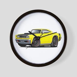 1969 Super Bee A12 Yellow Wall Clock