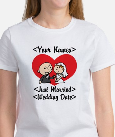 Just Married (Add Names & Wedding Date) Women's T-