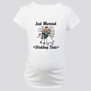 Just Married (Add Your Wedding Date) Maternity T-S