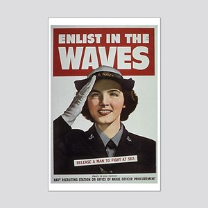 Enlist in the Waves Mini Poster Print