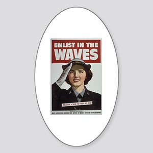 Enlist in the Waves Oval Sticker