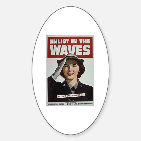 Enlist in the Waves Oval Decal