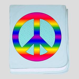 Rainbow Peace Sign Gear baby blanket