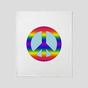 Rainbow Peace Sign Gear Throw Blanket