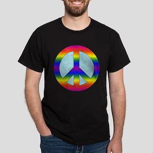 Rainbow Peace Sign Gear Dark T-Shirt