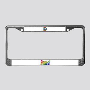 Rainbow Peace Sign Gear License Plate Frame