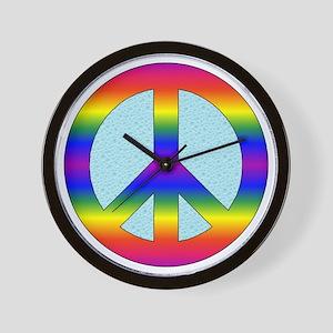 Rainbow Peace Sign Gear Wall Clock