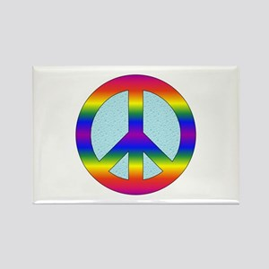Rainbow Peace Sign Gear Rectangle Magnet