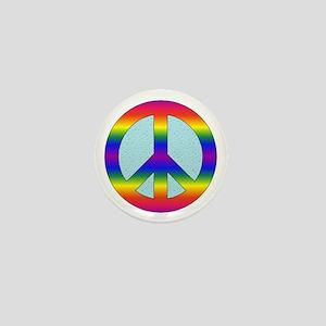 Rainbow Peace Sign Gear Mini Button
