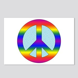 Rainbow Peace Sign Gear Postcards (Package of 8)