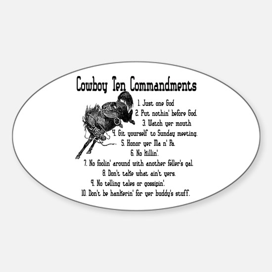 Cowboy Ten Commandments Sticker (Oval)