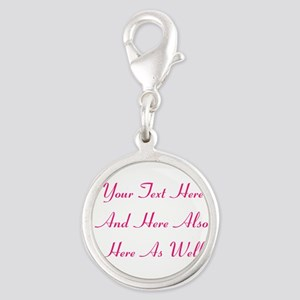 Customizable Personalized Text Silver Round Charm