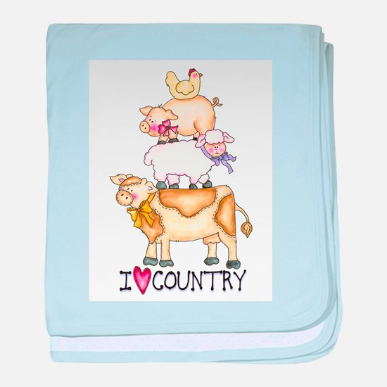 I Love Country baby blanket