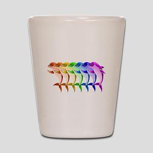 Rainbow Dolphins Shot Glass