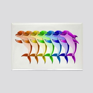 Rainbow Dolphins Rectangle Magnet