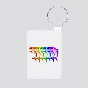 Rainbow Dolphins Aluminum Photo Keychain