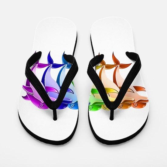 Rainbow Dolphins Flip Flops