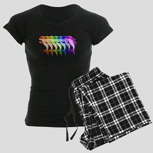 Rainbow Dolphins Women's Dark Pajamas
