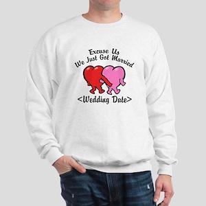Funny Just Married (Add Wedding Date) Sweatshirt