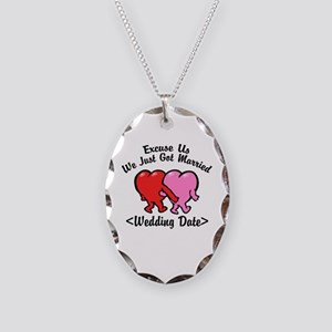 Funny Just Married (Add Wedding Date) Necklace Ova